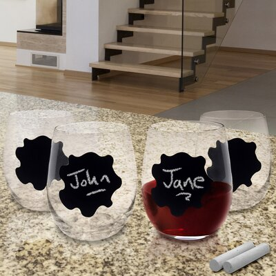 Vinotemp Stemless Chalkboard Wine Glass (Set of 4)