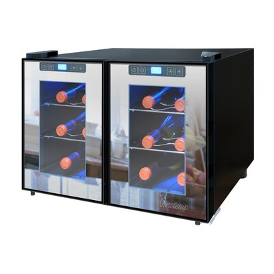 Vinotemp 12 Bottle Dual Zone Thermoelectric Wine Refrigerator
