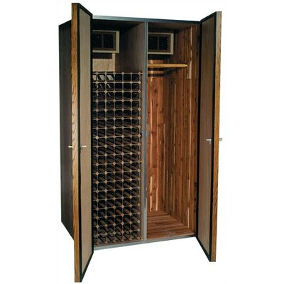 Vinotemp 700 His/Hers Oak Wine Cooler and Fur Storage Cabinet