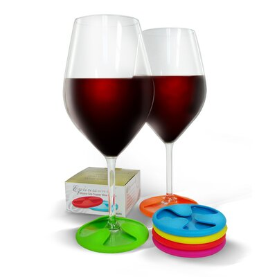 Vinotemp Epicureanist Silicone Grip Coaster Wine Charms