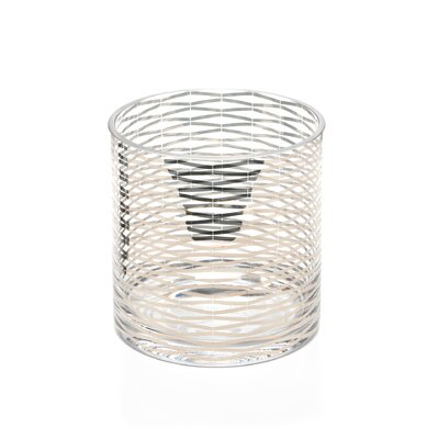 DwellStudio Silver Ribbons Short Glass Vase