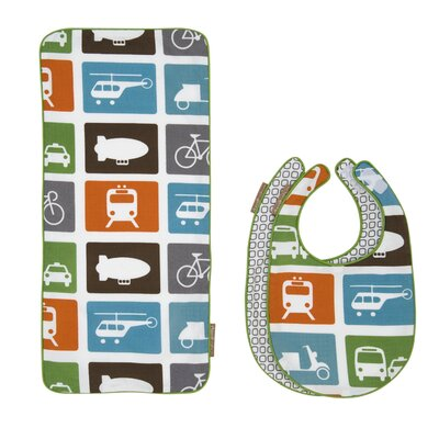 DwellStudio Transportation Bib and Burp Cloth Set