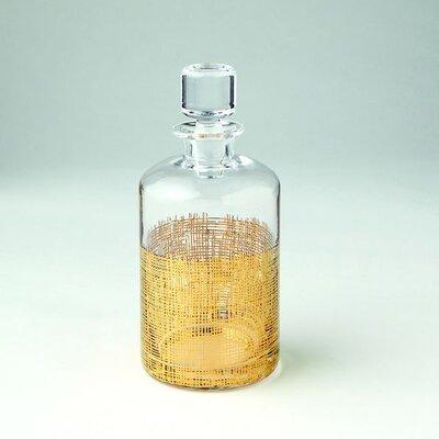 DwellStudio Crosshatch Cylinder Gold Decanter
