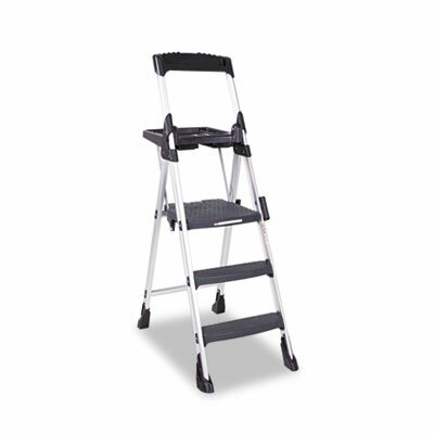 Cosco Home and Office Worlds Greatest Three-Step Folding Step Stool, Aluminum/Poly Resin, Black