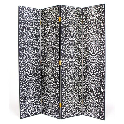 Yuenchai 4 Panel Room Divider in Distressed Black/Silver