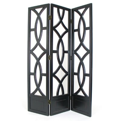 Charleston 3 Panel Room Divider in Distressed Antique Black
