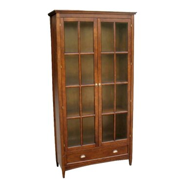 Traditional Bookcase with Glass Door in Brown