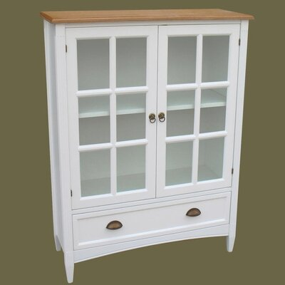 Traditional Bookcase with Glass Door in Distressed White