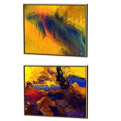 Menaul Fine Art Frozen Color and Ice Patterns Limited Edition Framed Canvas - Scott J. Menaul (Set of 2)