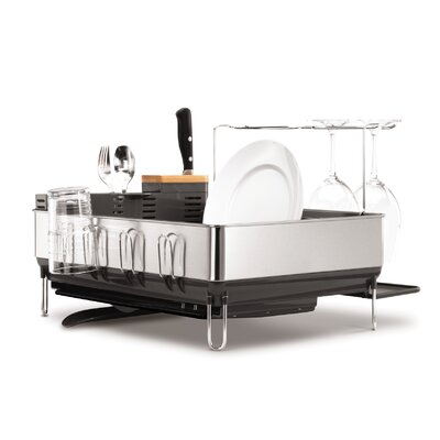 "simplehuman 20"" x 22"" Dish Rack with Wine Glass Holder"