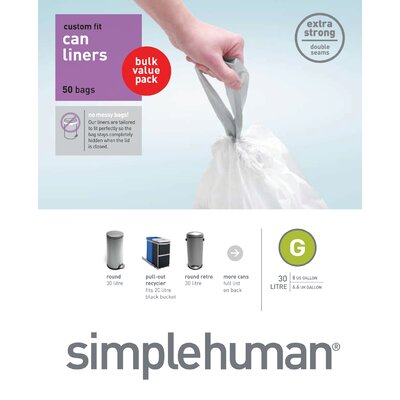 simplehuman Trash Can Liner (50 Count) 30 liters
