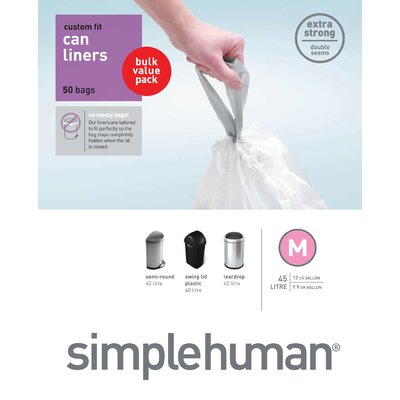 simplehuman Trash Can Liner M (50 Count) 45 liters