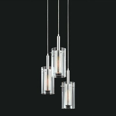 Sonneman Zylinder Contemporary 3 Light Foyer Pendant