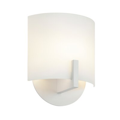Sonneman Scudo One Light Wall Sconce with White Etched Glass Shade in Satin White
