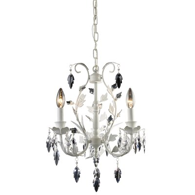Crystal Leaf 3 Light Mini-Chandelier