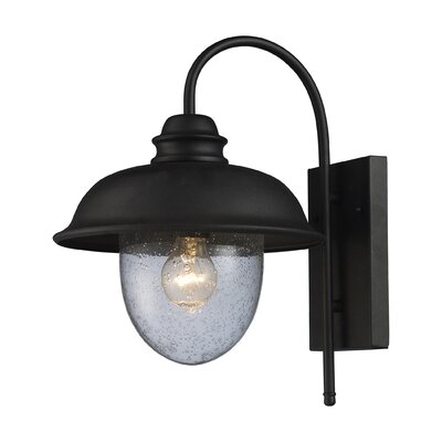 "Elk Lighting Streetside Cafe 15"" One Light Outdoor Wall Sconce in Matte Black"