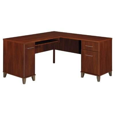 Bush Industries Somerset L-Shaped Desk with Keyboard Tray