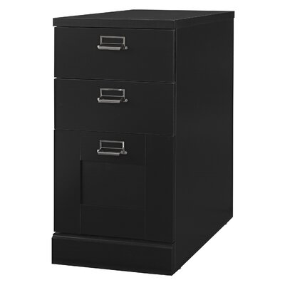 Bush Industries My Space Stockport Three Drawer Pedestal File Cabinet in Black