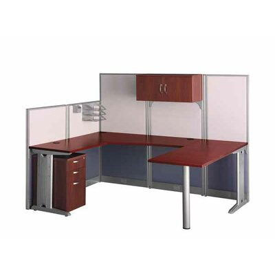 Bush Industries Office-in-an-Hour U-Shape Desk Office Suite with Metal Frame