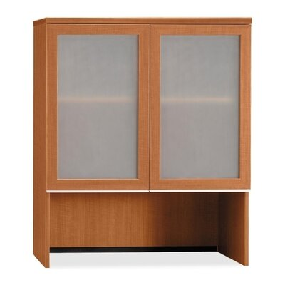 Bush Industries Milano 2 Double Pedestal Bow Front Desk with Glass Doors Bookcase Hutch