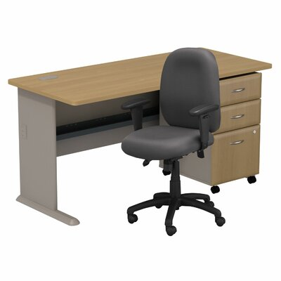 Series A Desk with 3 Drawer File and Chair