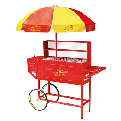 Nostalgia Electrics Vintage Carnival Hot Dog Cart with Umbrella