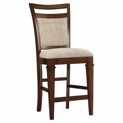 Abbott Place Upholstered Back Counter Stool in Rich Warm Cherry