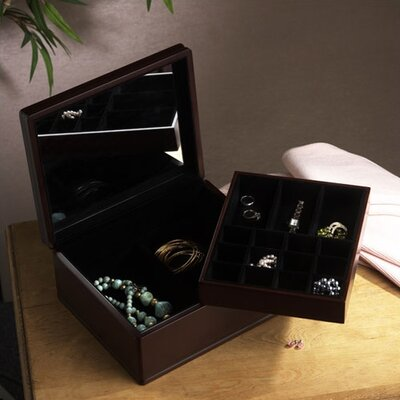 Dark Walnut Jewelry Box with Removable Tray