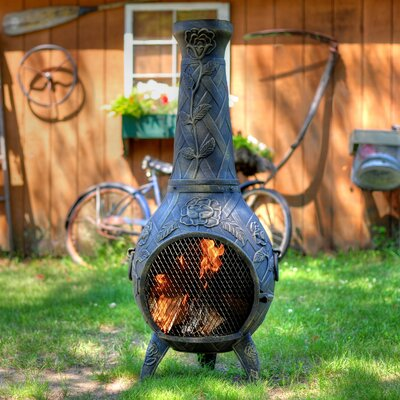 The Blue Rooster Rose Chiminea
