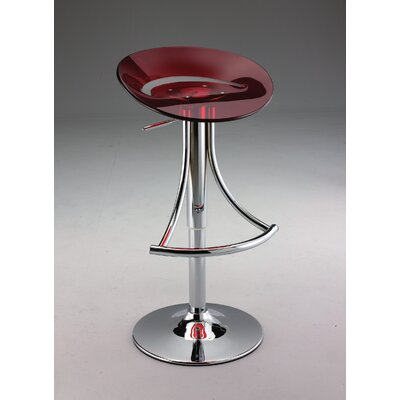 Swivel Barstool with Gas Lift in Red Acrylic