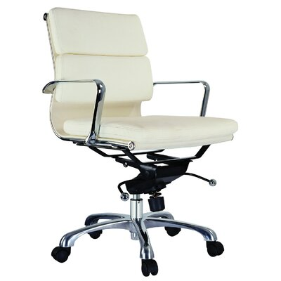 Creative Images International Murphy Low Back Leatherette Padded Office Chair with Chrome Base