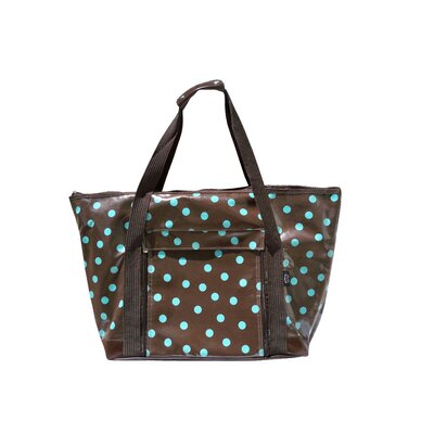 Polka Dot Picnic Tote in Brown and Turquoise