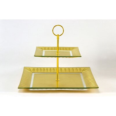 Tango Precious Metal Glass Etched Leaf 2-Tier Server