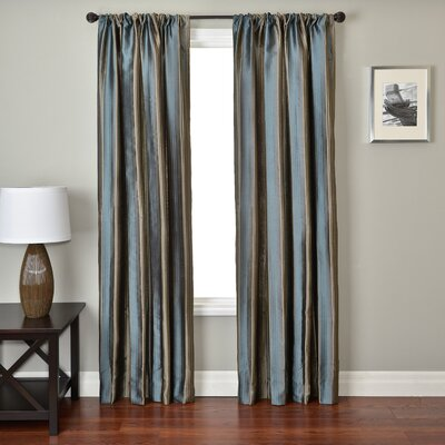 Softline Home Fashions Ariel Stripe Rod Pocket Panel in Chocolate / French Blue