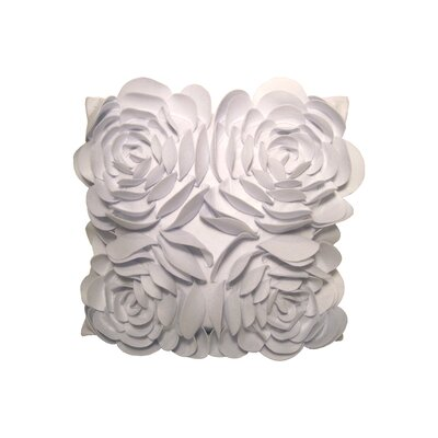Debage Inc. Rose Petals Pillow with Felt Flower in White