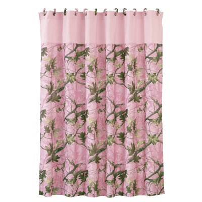 Pink Oak Camo Polyester Shower Curtain