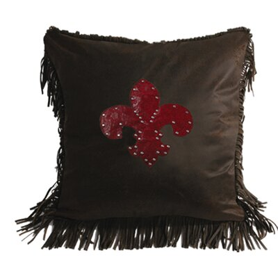 HiEnd Accents Cheyenne Faux Tooled Fleur De Lis Polyester Pillow