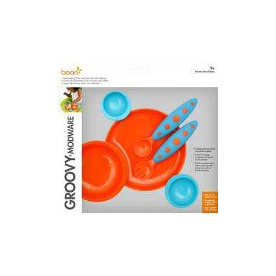 Boon Groovy Interlocking Plate And Bowl with Modware in Blue Raspberry / Tangerine