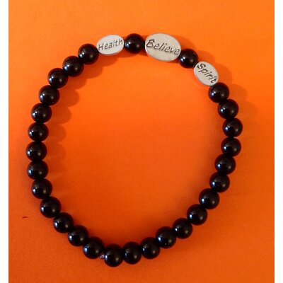 Sports Glass and Pewter Beaded Bracelet