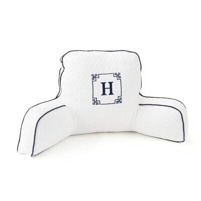 Hillary Thomas Designs Monogram Pillow with Navy Trim in White
