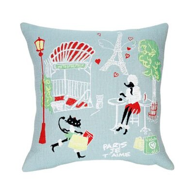 Jules Pansu I Love Paris Tapestry Cotton Twill Pillow