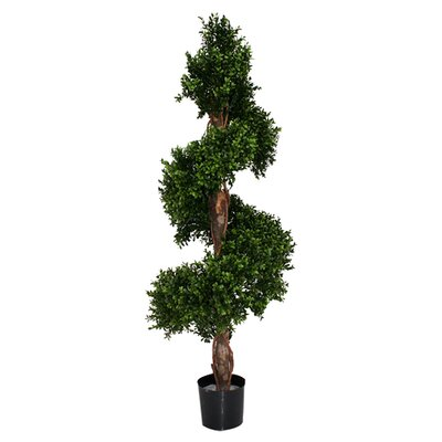 Artificial Boxwood Corkscrew Topiary in Pot