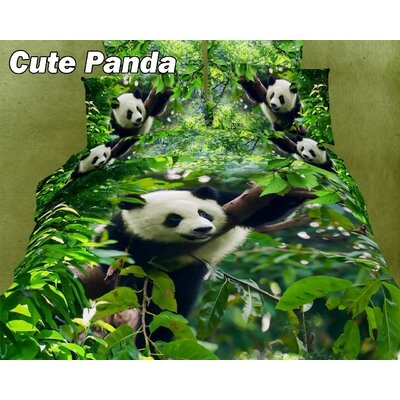 Cute Panda Egyptian Cotton Duvet Cover Set