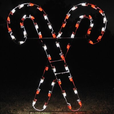 Crossed Candy Canes Light in Red / White