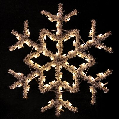 "Holiday Lighting Specialists 48"" Hanging Garland Snowflake in Warm White"