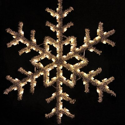 "Holiday Lighting Specialists 60"" Hanging Garland Snowflake in Warm White"