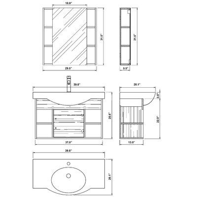 """Bellaterra Home Langdon 40.5"""" Single Vanity Set"""