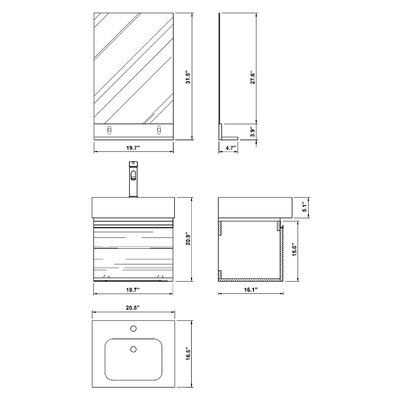 "Bellaterra Home Mason 41"" Double Bathroom Vanity Set"