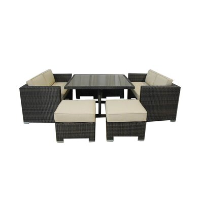 Kontiki All Weather Wicker 7 Pieces Love Seat Dining Set