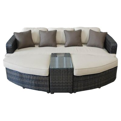 <strong>Kontiki</strong> All Weather Wicker 4 Piece Lounge Seating Group with Cushions